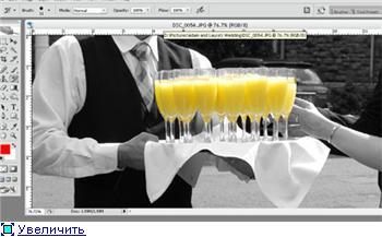Фотоэффект - цветной элемент на черно-белом фото