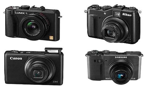 По часовой стрелке, начиная слева сверху: Panasonic Lumix DMC-LX5, Nikon Coolpix P7000, Samsung EX1 и Canon PowerShot S95