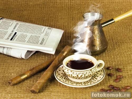 iДобавляем пар к чашке с кофе