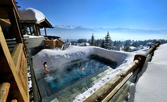 Lecrans Отель & SPA с уникальным горячим бассейном, Швейцария.