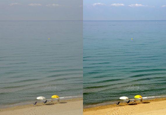Фотография до обработки (слева) и после обработки в редакторе