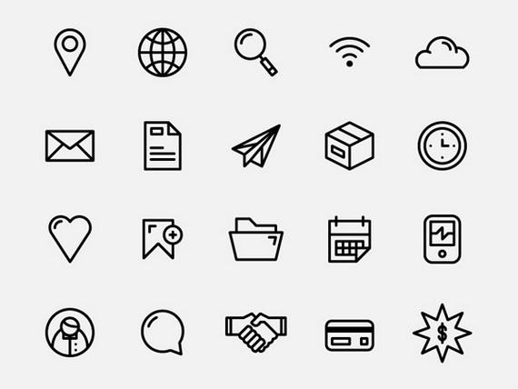 Сборник бесплатных наборов иконок для сайта черно-белый