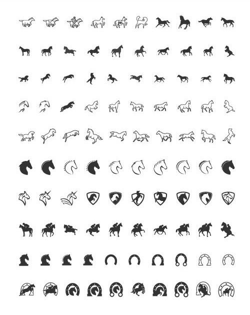 100 иконок лошадей