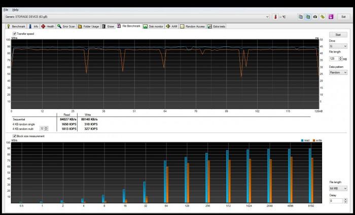 Последовательный тест ADATA XPG SDXC Class 10 UHS-I U3 64GB