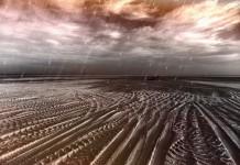 Пустынный пейзаж, дождь
