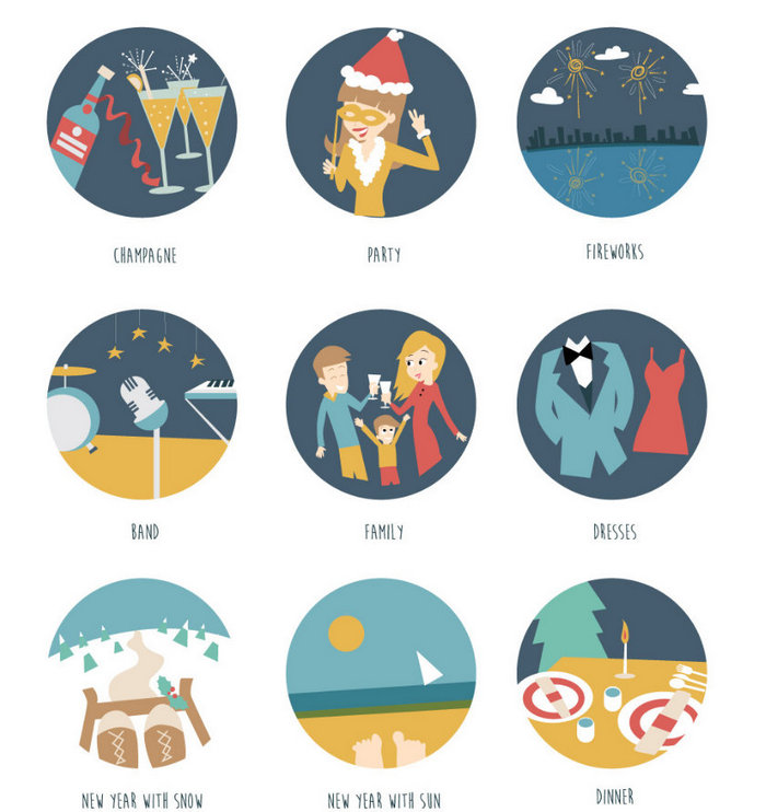 Бесплатный набор новогодних иконок