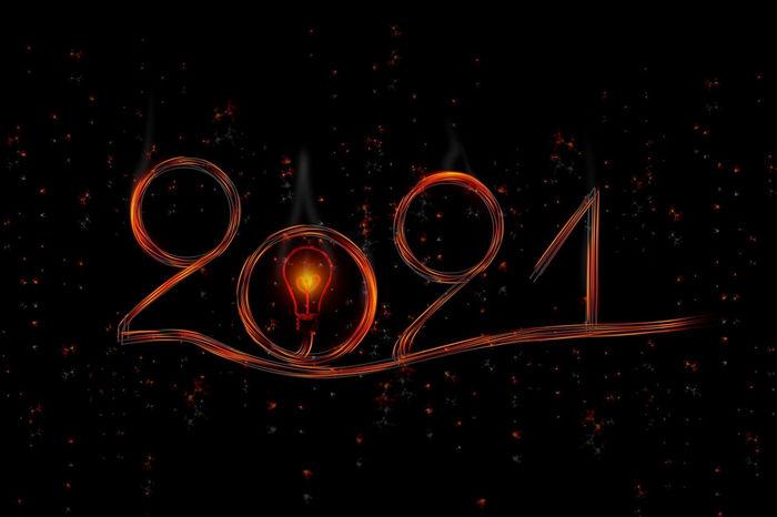 Открытка 2021 - свет лампочки
