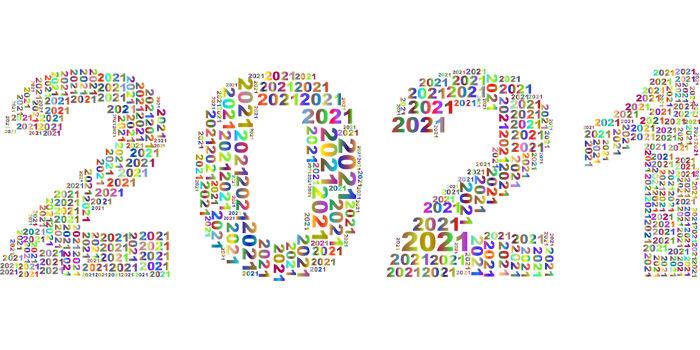 Надпись 2021 из мелких цифр