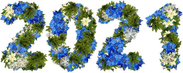 новогодний шаблон 2021 из еловых веток и цветов