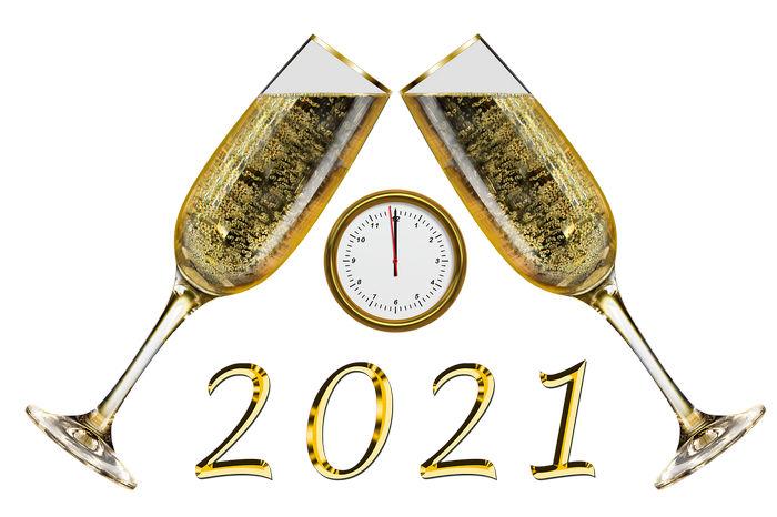 Шаблон - цифры 2021 на фоне бокалов и часов