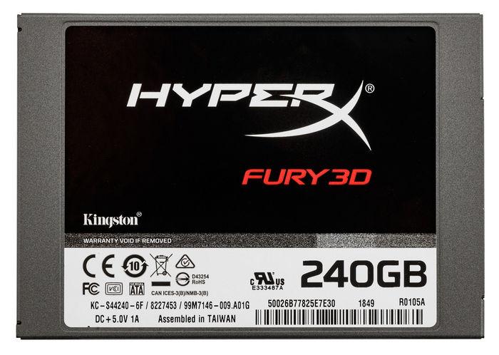 HyperX®объявила о начале продаж в России недорогих SSD накопителей FURY 3D