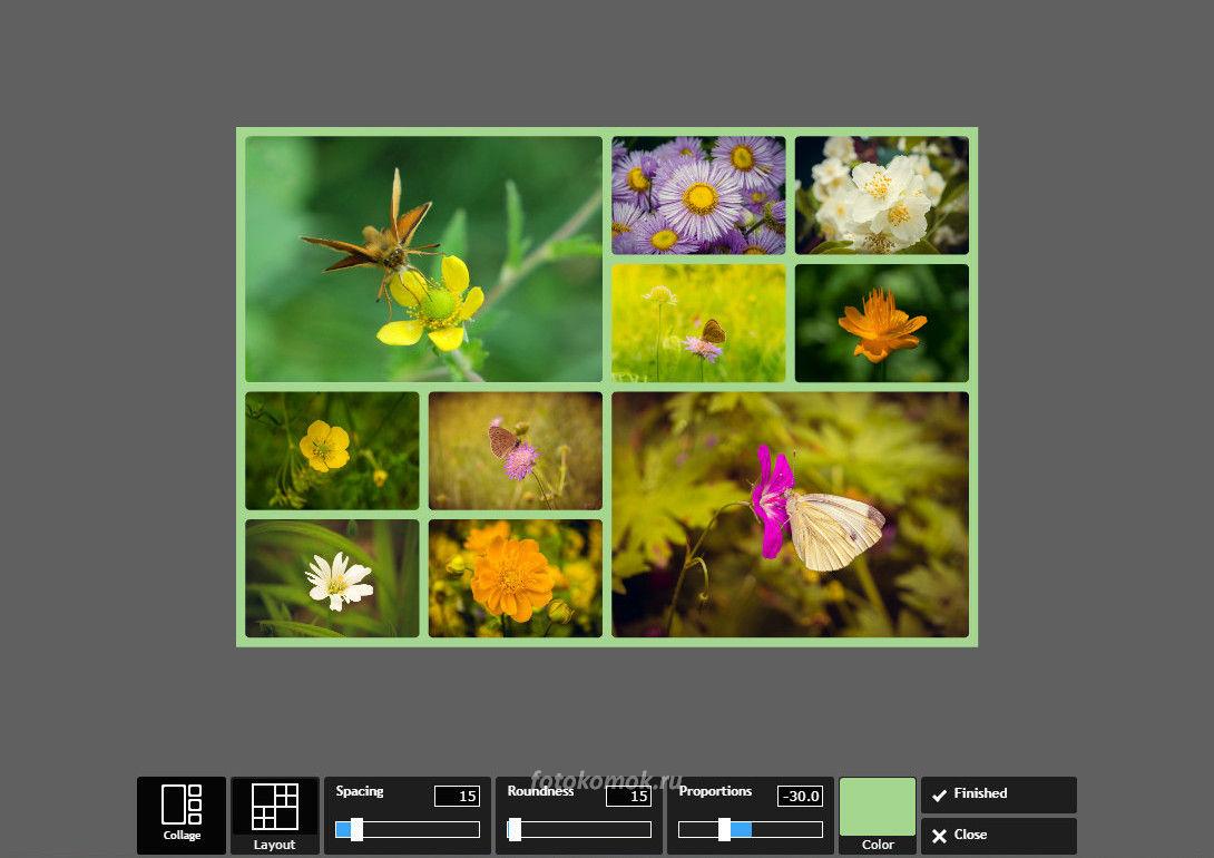 Фотоколлаж онлайн - меняем цвет заливки между ячейками