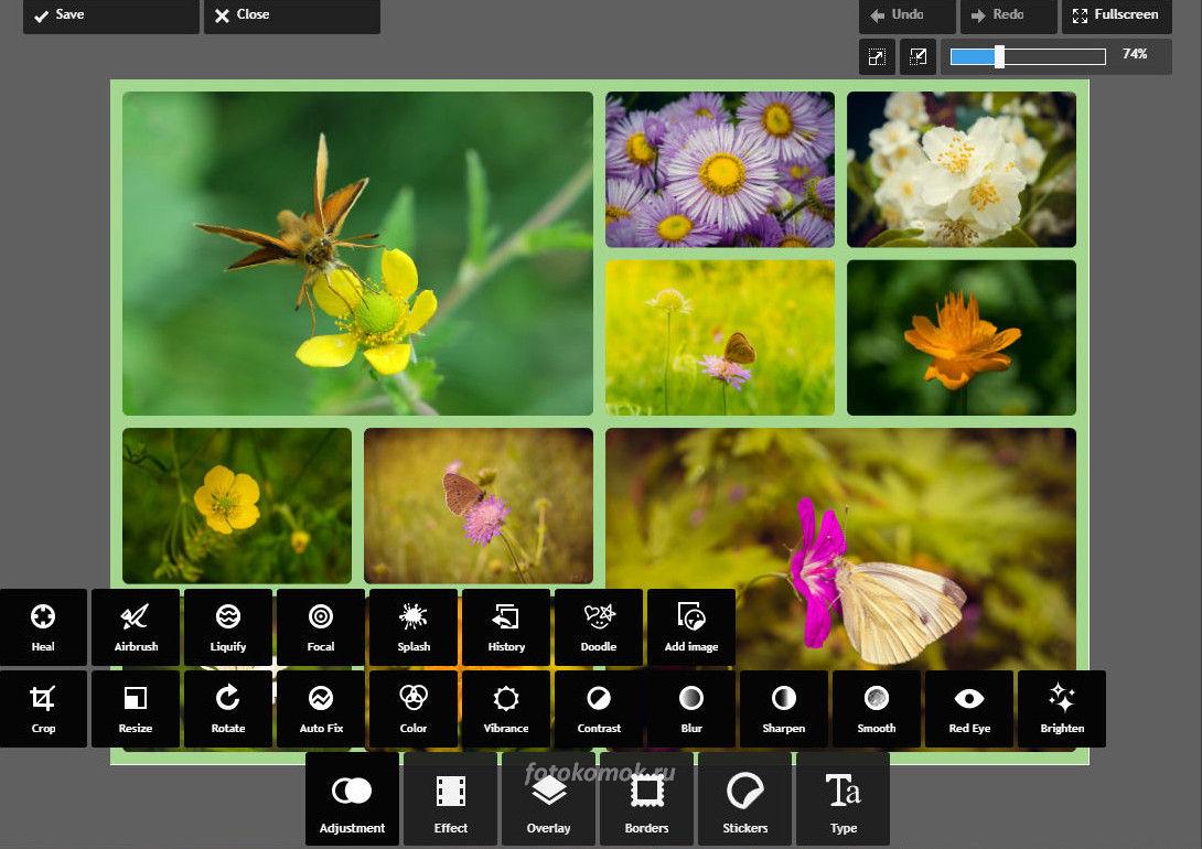 Фотоколлаж онлайн - переходим в дополнительные настройки