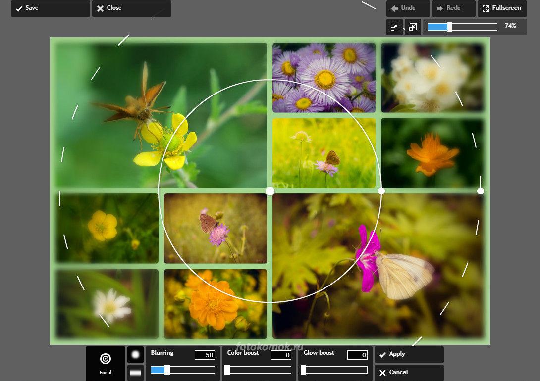 Фотоколлаж онлайн - настройки изображения