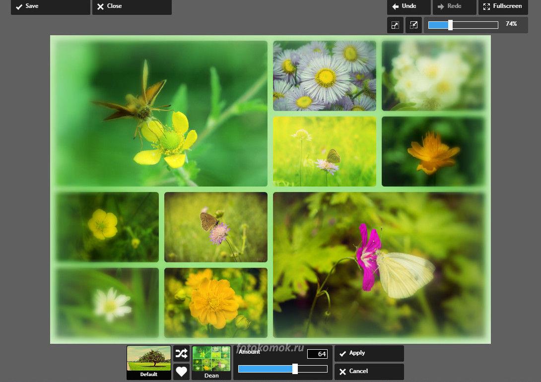 Коллаж онлайн - добавляем фильтры
