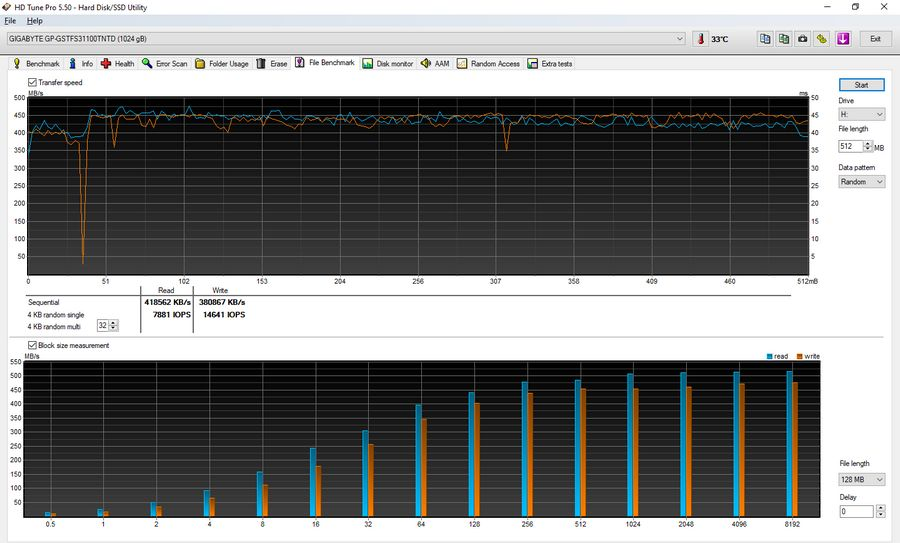 File benchmark GIGABYTE 1000 GB GP-GSTFS31100TNTD